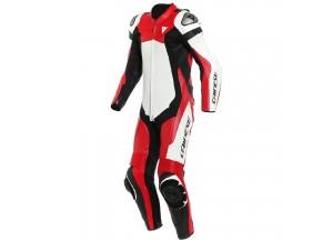 Mono moto de piel Dainese Assen 2 1PC Perforado Blanco Rojo-Lava Negro