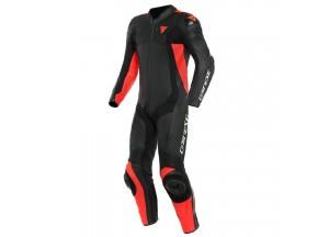 Mono moto de piel Dainese Assen 2 1PC Perforado Negro Negro Rojo-Fluo