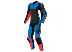 Mono moto de piel Dainese Assen 2 1PC Perforado Negro Azul claro Rojo-Fluo
