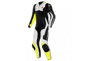 Mono moto de piel Dainese Assen 2 1PC Perforado Negro Blanco Amarillo-Fluo
