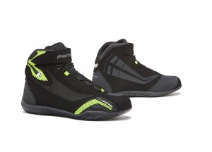 Zapatos Moto Forma Urbana Cuero Impermeable Genesis Negro Amarillo Fluo