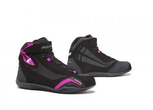 Zapatos Moto Forma Urbana Cuero Impermeable Genesis Lady Negro Fucsia