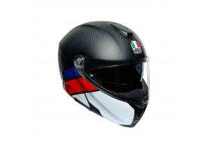 Casco Integral Abierto Agv Sportmodular Layer Carbon Rojo Azul