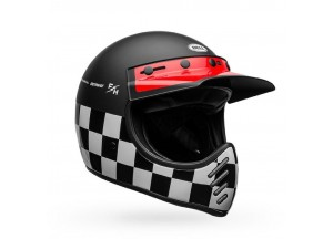 Casco Bell Off-Road Motocross Moto-3 Fasthouse Checkers Negro Blanco Rojo