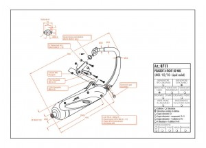 0711 - Silenciador Leovince Sito 2 Tiempos Peugeout X-FIGHT 50 WRC