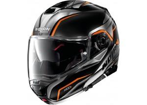 Casco Integral Abierto Nolan N100.5 BALTEUS N-COM 44 Negro-Brillante Naranja