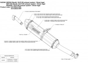 S-S12SO3-HRC - Silenciador Escape Akrapovic Slip-on Suzuki GSF BANDIT GSX F