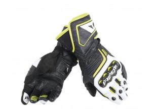 Motorradhandschuhe Carbon D1 Long Schwarz/Weiß/Fluo-Gelb