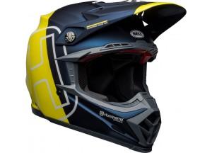 Helm Bell Off-road Motocross Moto-9 Carbon Flex Husqvarna Gotland Blau Gelb