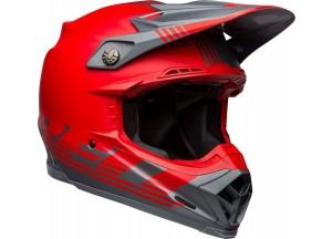 Helm Bell Off-road Motocross Moto-9 Carbon Flex Louver Rot Grau Matt