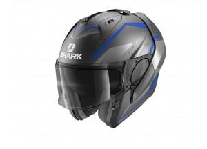 Modular Helm Geöffnet Discovery Shark EVO-ES YARI MAT Anthrazit Blau Silber