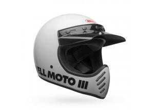 Helm Bell Off-road Motocross Moto-3 Classic Weiß Glänzend