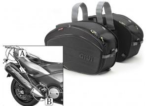 Satteltaschen Givi EA100B + Abstandshalter für Yamaha T-MAX 500/530