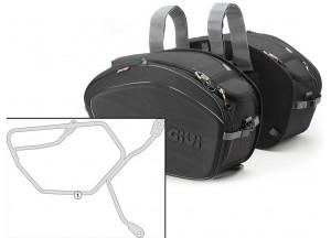 Satteltaschen Givi EA100B + Abstandshalter für Moto Guzzi V7 (12 > 16)