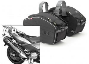 Satteltaschen Givi EA101B + Abstandshalter für Yamaha T-MAX 500/530