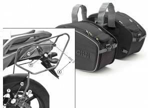 Satteltaschen Givi EA101B + Abstandshalter für Yamaha FZ6 S2 / FZ6 600 Fazer S2