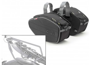 Satteltaschen Givi EA101B + Abstandshalter für Ducati Diavel 1200 (11 > 16)