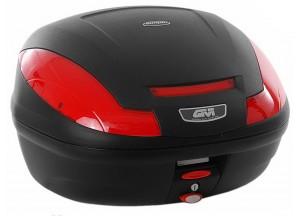 E4700N - Givi Top Case Monolock E470 SIMPLY III 47lt Schwarz/Rote Reflektoren