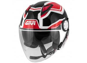 Helm Jet Givi 12.3 Stratos SHADE Weiß Schwarz Rot