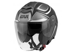 Helm Jet Givi 12.3 Stratos SHADE Matt Titan Schwarz Weiß