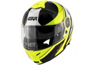 Helm Modular Geöffnet Givi X.21 Challenger Graphic Globe Matt Schwarz Gelb