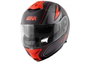 Helm Modular Geöffnet Givi X.21 Challenger Graphic Shiver Schwarz Titan Rot