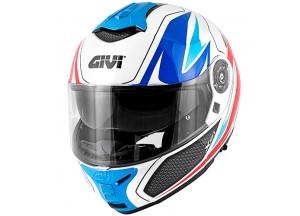 Helm Modular Geöffnet Givi X.21 Challenger Graphic Shiver Weiß Blau Rot