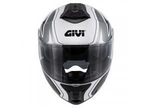 Helm Modular Geöffnet Givi X.21 Challenger Graphic Shiver Weiß Titan Schwarz