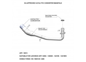 16013 - Auspuffkrümmer LeoVince Katalytisch  HONDA FORZA 125/NSS 125/ABS (15-18)