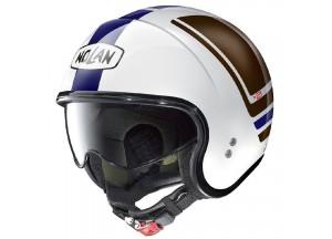 Helm Jet Nolan N21 Flybridge 87 Metal Weiß Blau Braun