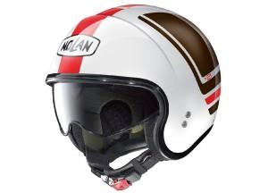Helm Jet Nolan N21 Flybridge 85 Metal Weiß Rot Braun