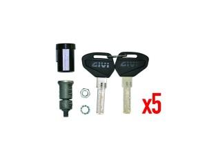 SL105 - Givi Security Lock Schlüssel-Set für 5 Koffer, inklusive Buchsen