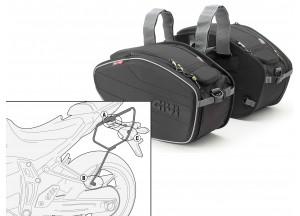 Satteltaschen Givi EA101B + Abstandshalter für Yamaha MT-07 (14 > 16)