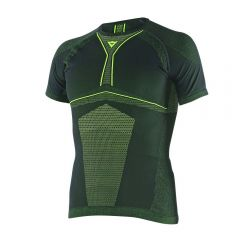 Camiseta térmico Moto Dainese D-Core Dry Tee SS Negro/Fluo-Amarillo