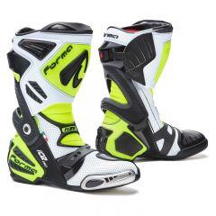 Botas de cuero Racing Forma Ice Pro Flow Blanco Negro Amarillo Fluo