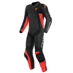 Leather Suit Dainese Assen 2 1PC Perforated Black Black Fluo Red