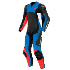 Leather Suit Dainese Assen 2 1PC Perforated Black Light-Blue Fluo-Red