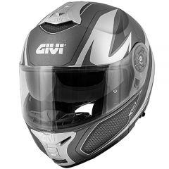 Helm Modular Geöffnet Givi X.21 Challenger Graphic Shiver Titan Matt Silber
