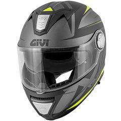 Helm Modular Geöffnet Givi X.23 Sydney Pointed Matt Schwarz Titan Gelb
