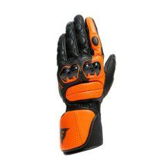 Motorradhandschuhe Mann Dainese IMPETO Leder Schwarz/Flame-Orange