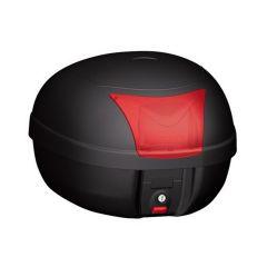 K28BAS - Kappa MONOLOCK Top-case 28 ltr. black embossed with red reflectors