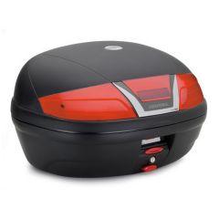 K46N - Kappa MONOLOCK Top-case 46 ltr. black embossed with red reflectors