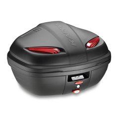 K47N - Kappa MONOLOCK Top-case 47 ltr. black embossed with red reflectors