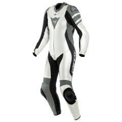 Motorbike Suit Leather Dainese Killalane 1 PC LADY Perforated White Black Grey