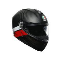 Casco Integral Abierto Agv Sportmodular Layer Carbon Rojo Blanco