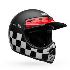 Casco Bell Off-Road Motocross Moto-3 Fasthouse Checkers Negro Blanco Rojo