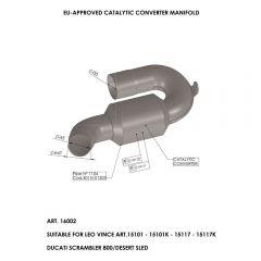 16002 - Colector Escape LeoVince CatalíticoDUCATI SCRAMBLER 800 (15-18)