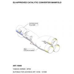 16008 - Colector Escape LeoVince Catalizado YAMAHA MT-09 / FZ-09 / XSR 900