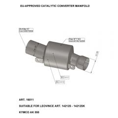 16011 - Colector Escape LeoVince Catalítico  Kymco AK 550 (17-18)