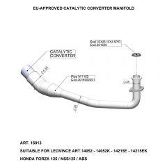 16013 - Colector Escape LeoVince Catalítico  HONDA FORZA 125/NSS 125/ABS (15-18)
